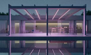 hochwertige farb-LED-Bänder in Pfosten und Dachträger
